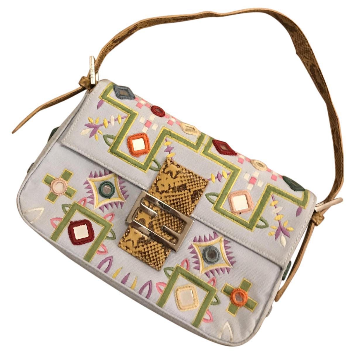 Fendi Baguette Blue Cloth handbag for Women N