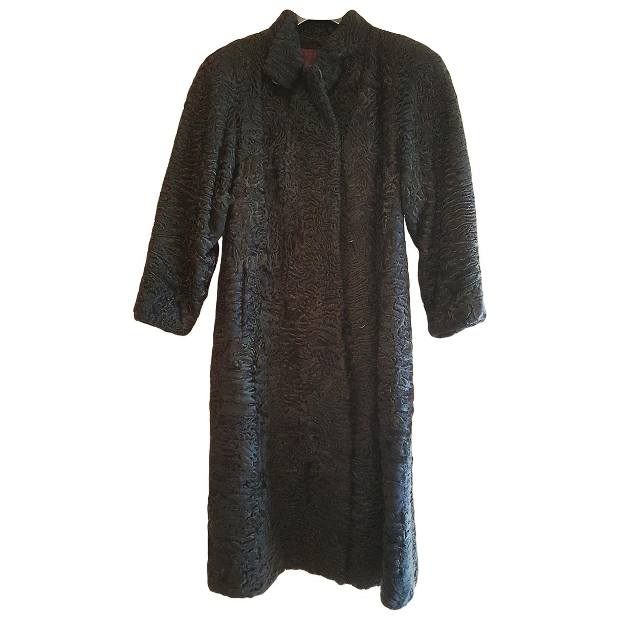 Non Signé / Unsigned Oversize Black Astrakhan coat for Women M International