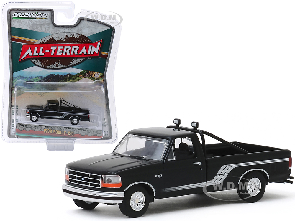 1992 Ford F-150 Pickup Truck Raven Black with Silver Stripes