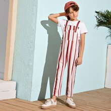 Boys Pocket Patched Striped Overalls With Adjustable Strap