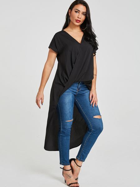 Yoins Black Crossed Front Design V-neck High-Low hem  Blouse