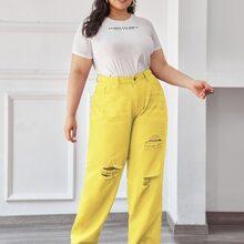 Gerade Jeans mit hoher Taille und Riss