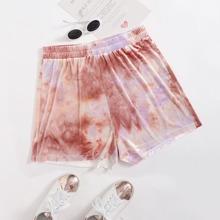 Shorts mit elastischer Taille und Batik