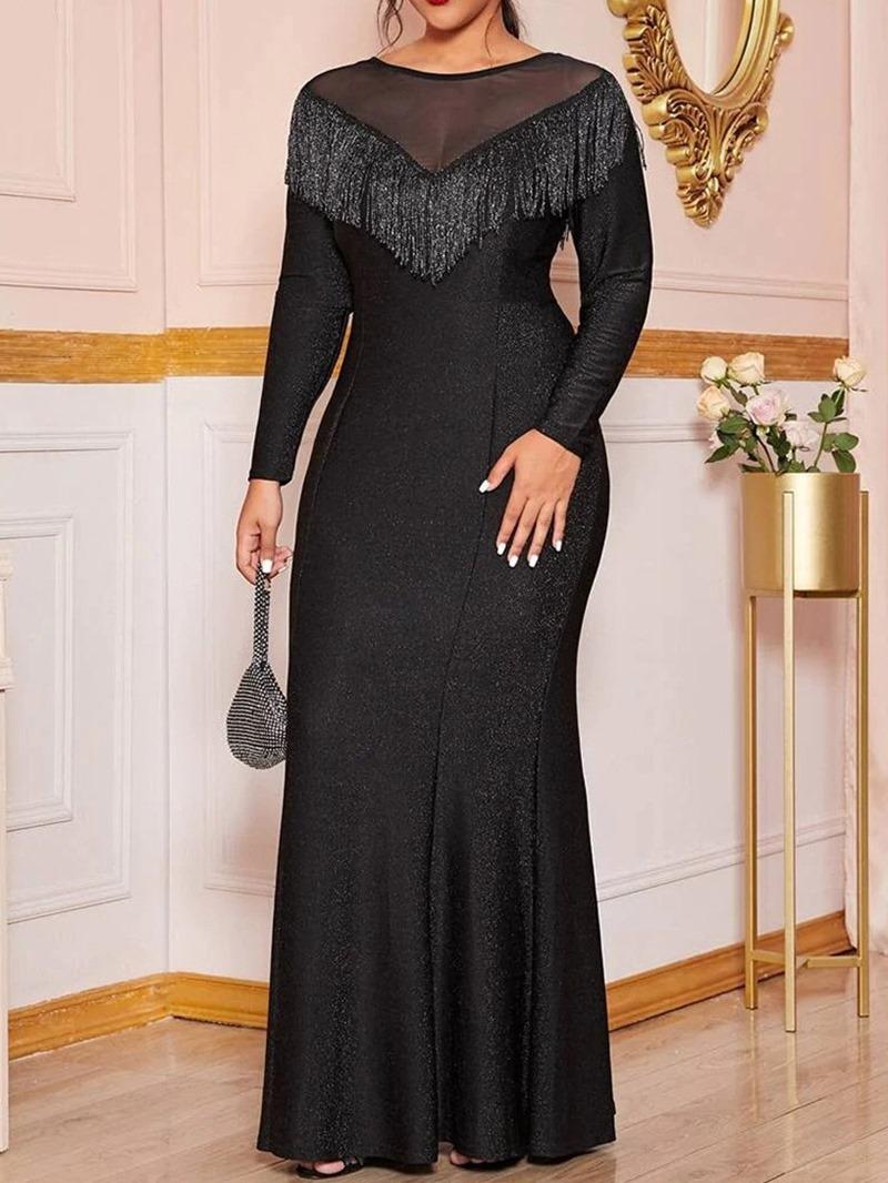 Ericdress Plus Size Long Sleeve Round Neck Tassel Regular A-Line Dress