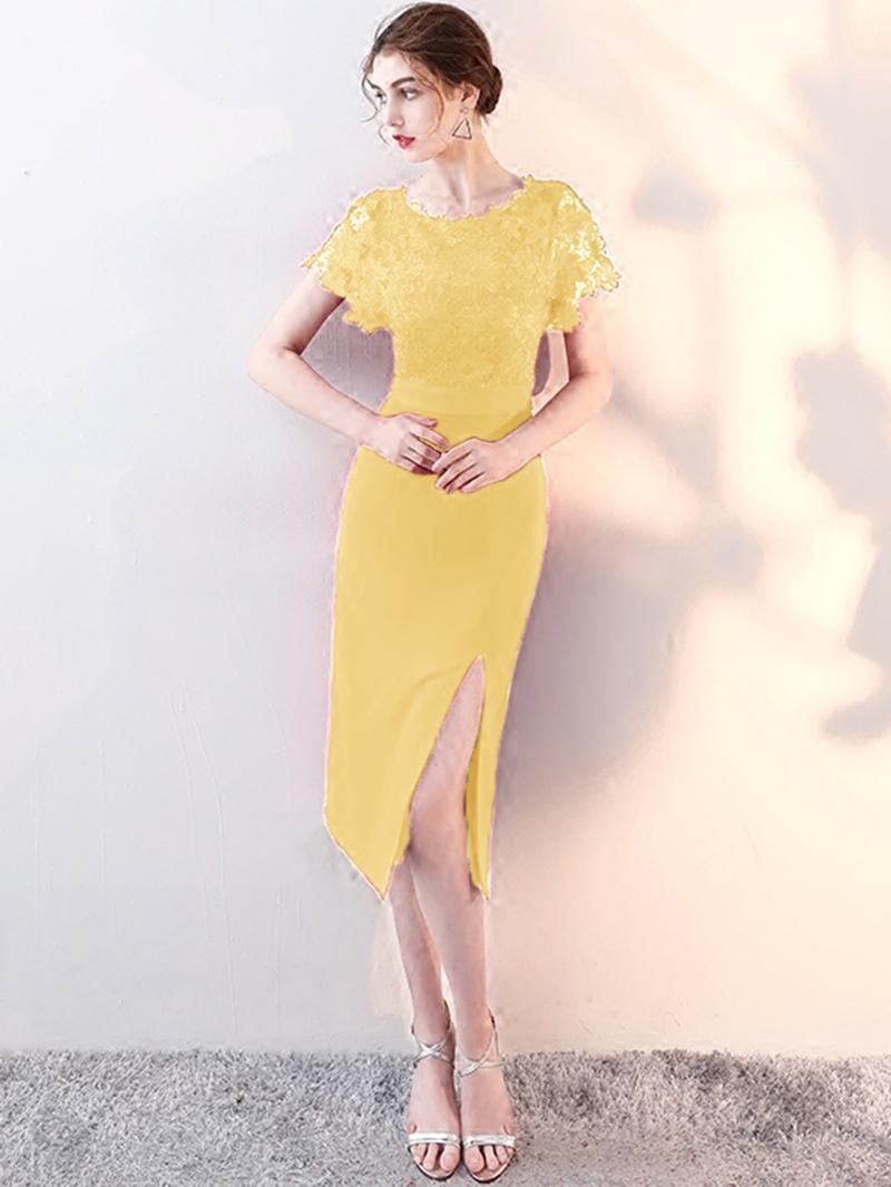 Ericdress Sheath Tea Length Bodycon Homecoming Dress With Split Side