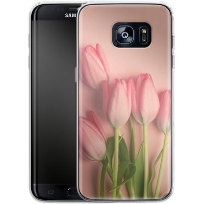 Samsung Galaxy S7 Edge Silikon Handyhuelle - Pink Tulips von Joy StClaire