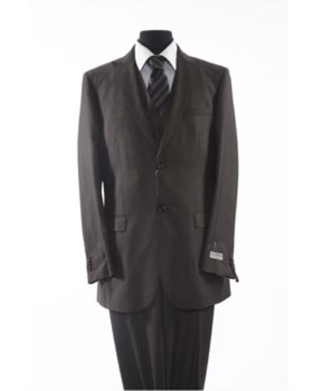 Mens Two Button 2 Piece Black Suit