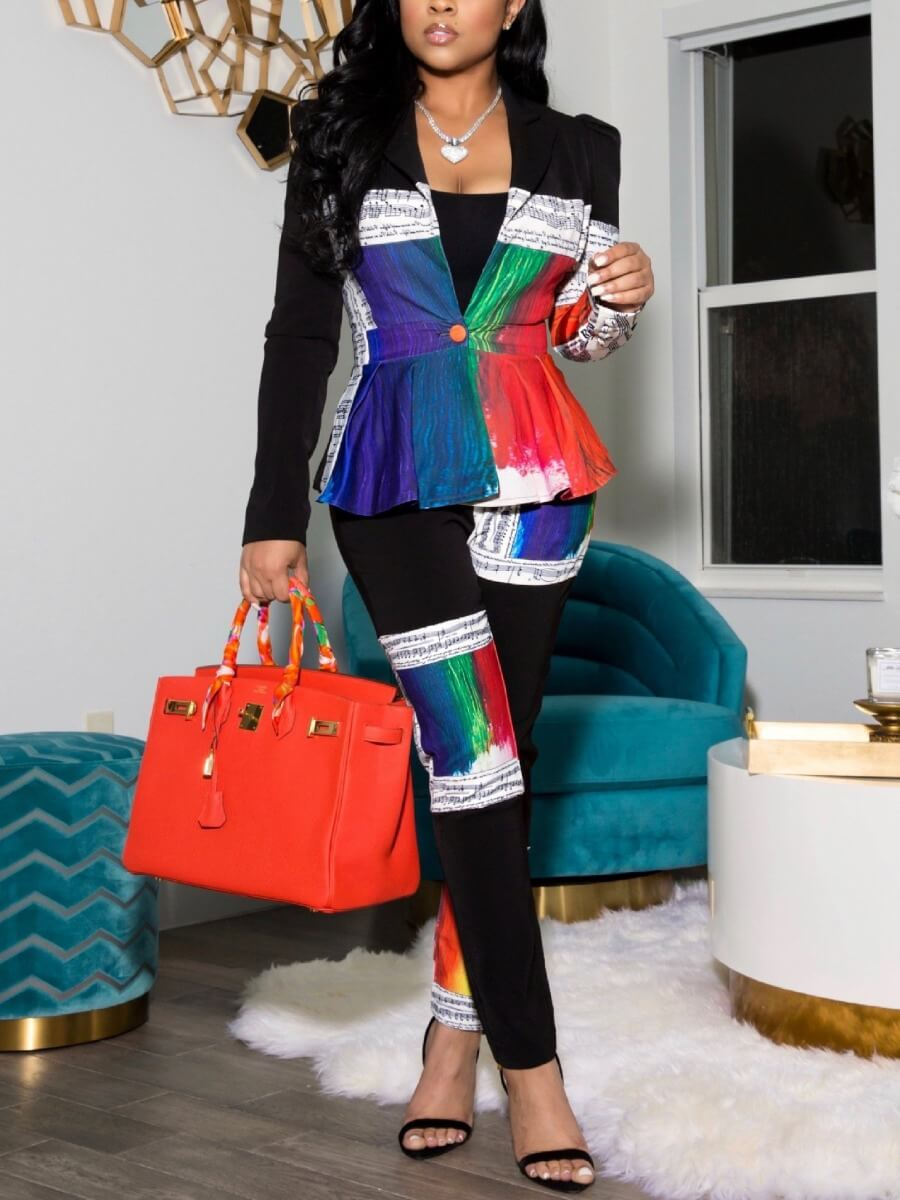 LW Lovely Street Print Color-lump Patchwork Black Two Piece Pants Set(Without Belt