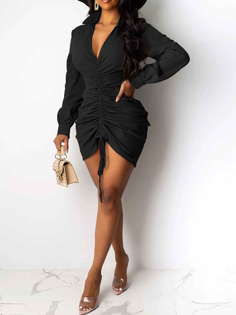 Ericdress Long Sleeve Lace-Up Above Knee Bodycon Plain Bodycon Dress