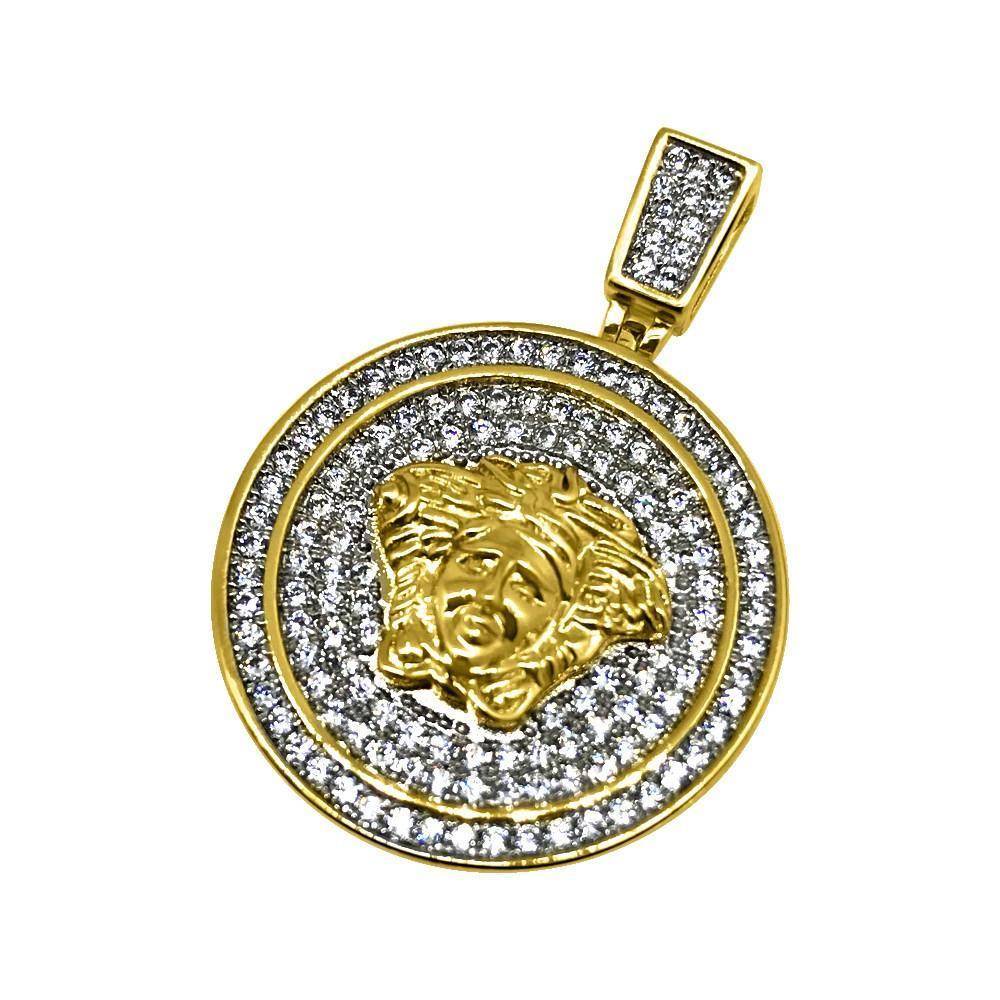 .925 Silver Gold Bling Bling CZ Medusa Gold Mini Pendant