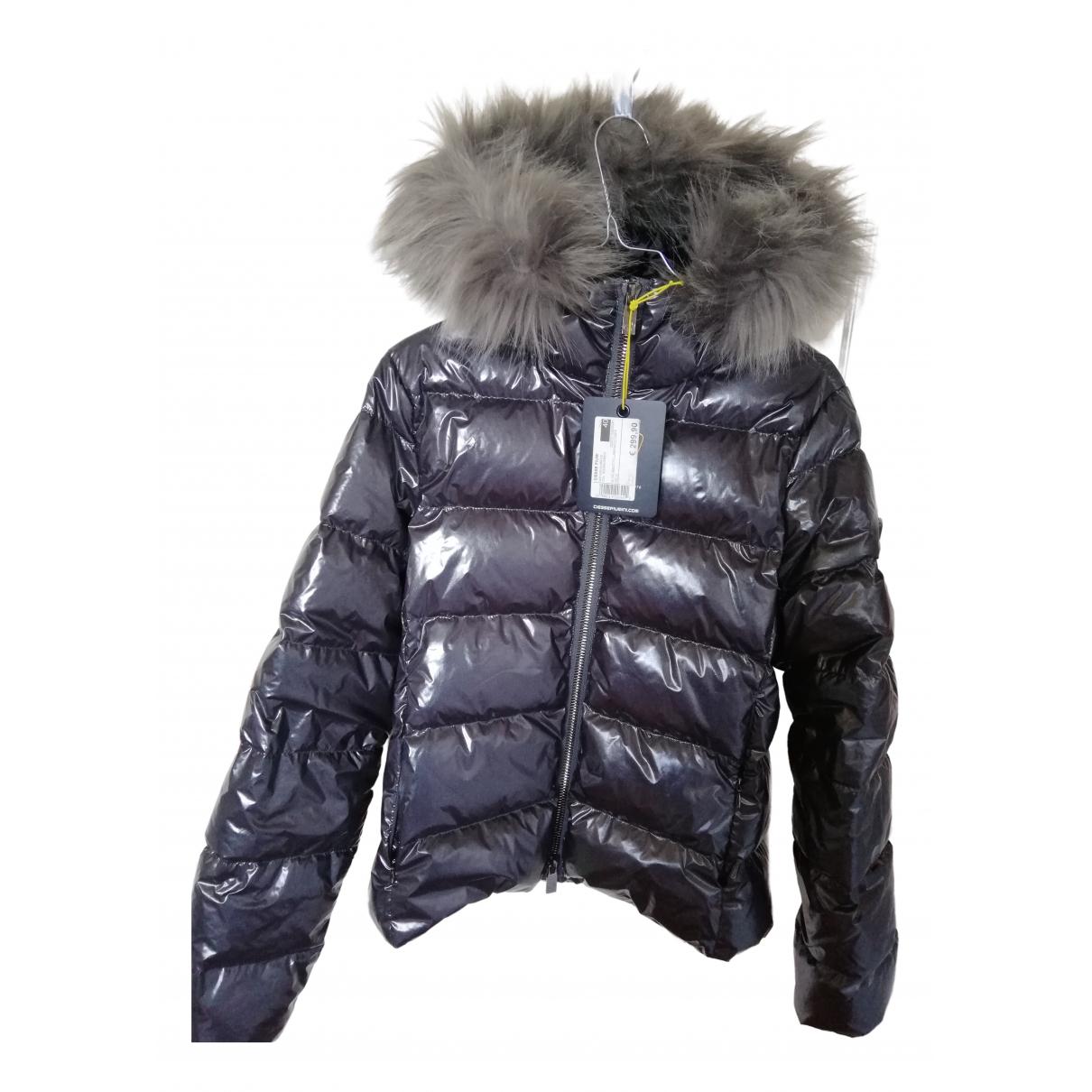 - Manteau   pour femme en fourrure synthetique - argente