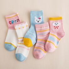 5 pares calcetines de niñitas con dibujos animados