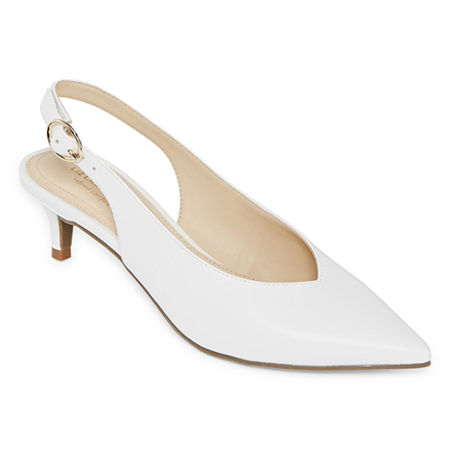 Liz Claiborne Womens Quebec Buckle Pointed Toe Kitten Heel Pumps, 8 Medium, White