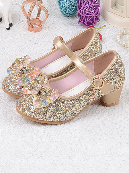 Milanoo Flower Girl Shoes Silver Sequined Cloth Bows Party Shoes For Kids Elsa Shoes In Frozen