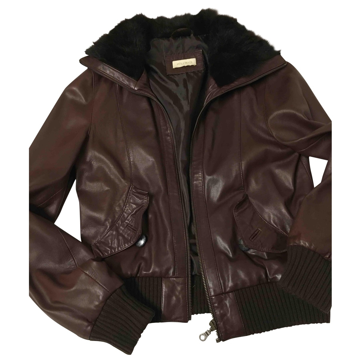 Non Signé / Unsigned \N Brown Leather jacket for Women 40 FR