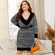 Pullover Kleid mit Space Dye und V Kragen ohne Guertel