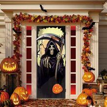 Tueraufkleber mit Halloween Schaedel Muster