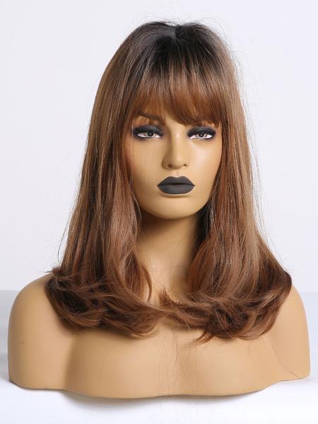 Milanoo Women Long Wig Amber Straight Rayon Bohemian Tousled Long Synthetic Wigs