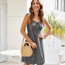 Cami Kleid mit geraffter Rueckseite, Knoten, Riemen und ueberallem Muster