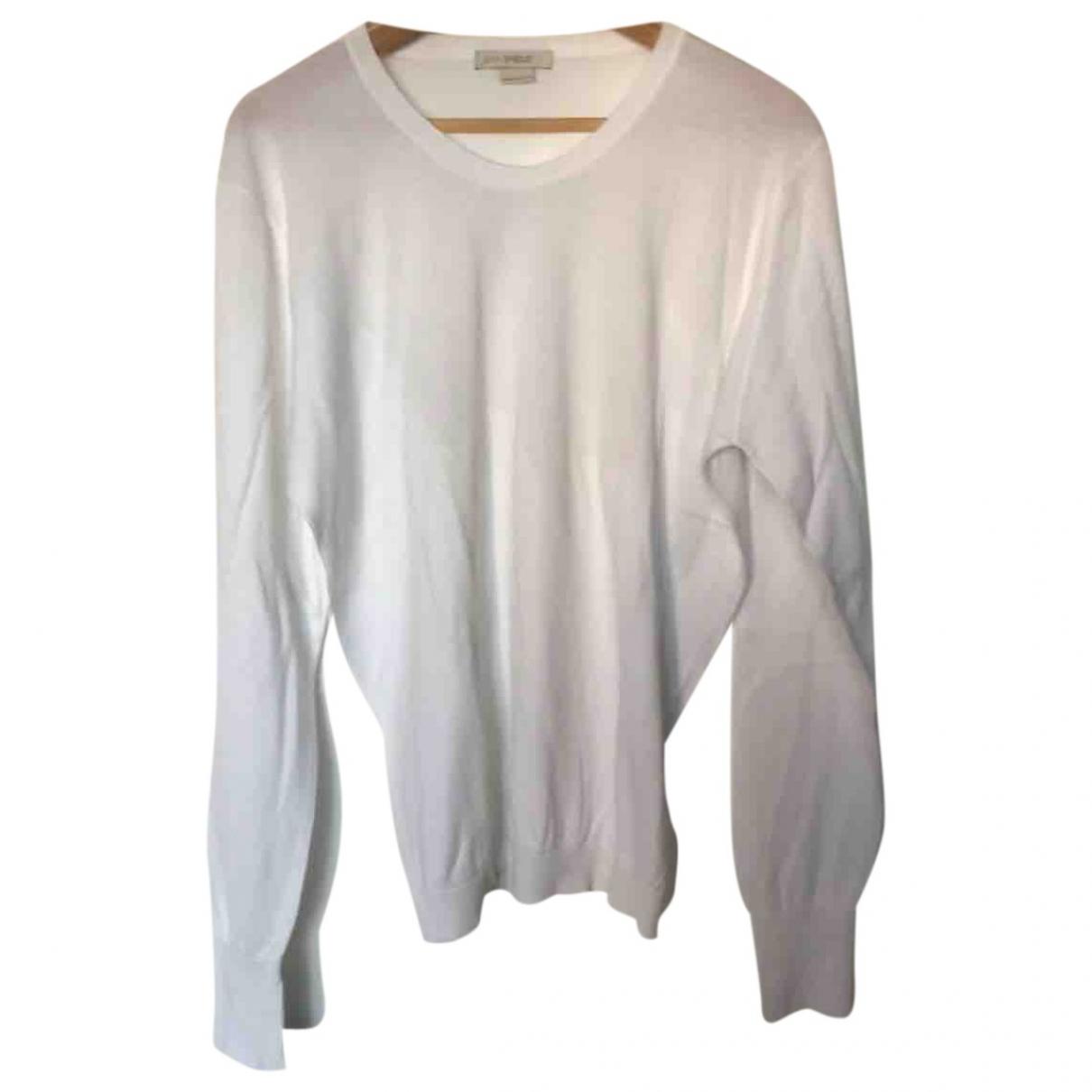John Smedley \N Pullover.Westen.Sweatshirts  in  Weiss Baumwolle