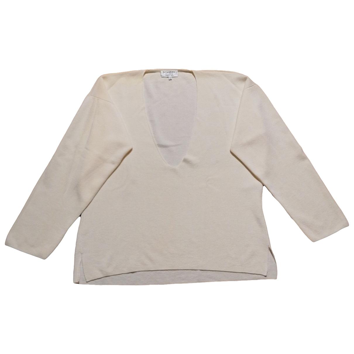 Yves Saint Laurent - Pull   pour femme en laine - blanc