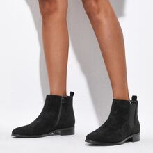 Minimalist Block Heeled Suede Chelsea Boots