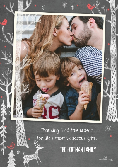 Christmas Photo Cards Flat Glossy Photo Paper Cards with Envelopes, 5x7, Card & Stationery -Cute Chalkboard Forest