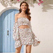 Frill Trim Shirred Ditsy Floral Bardot Top & Skirt Set