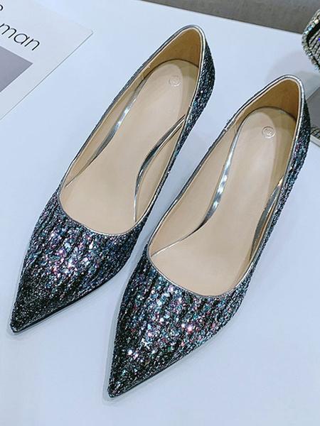 Milanoo Women\'s High Heels Slip-On Pointed Toe Stiletto Heel Sequins Black Pumps