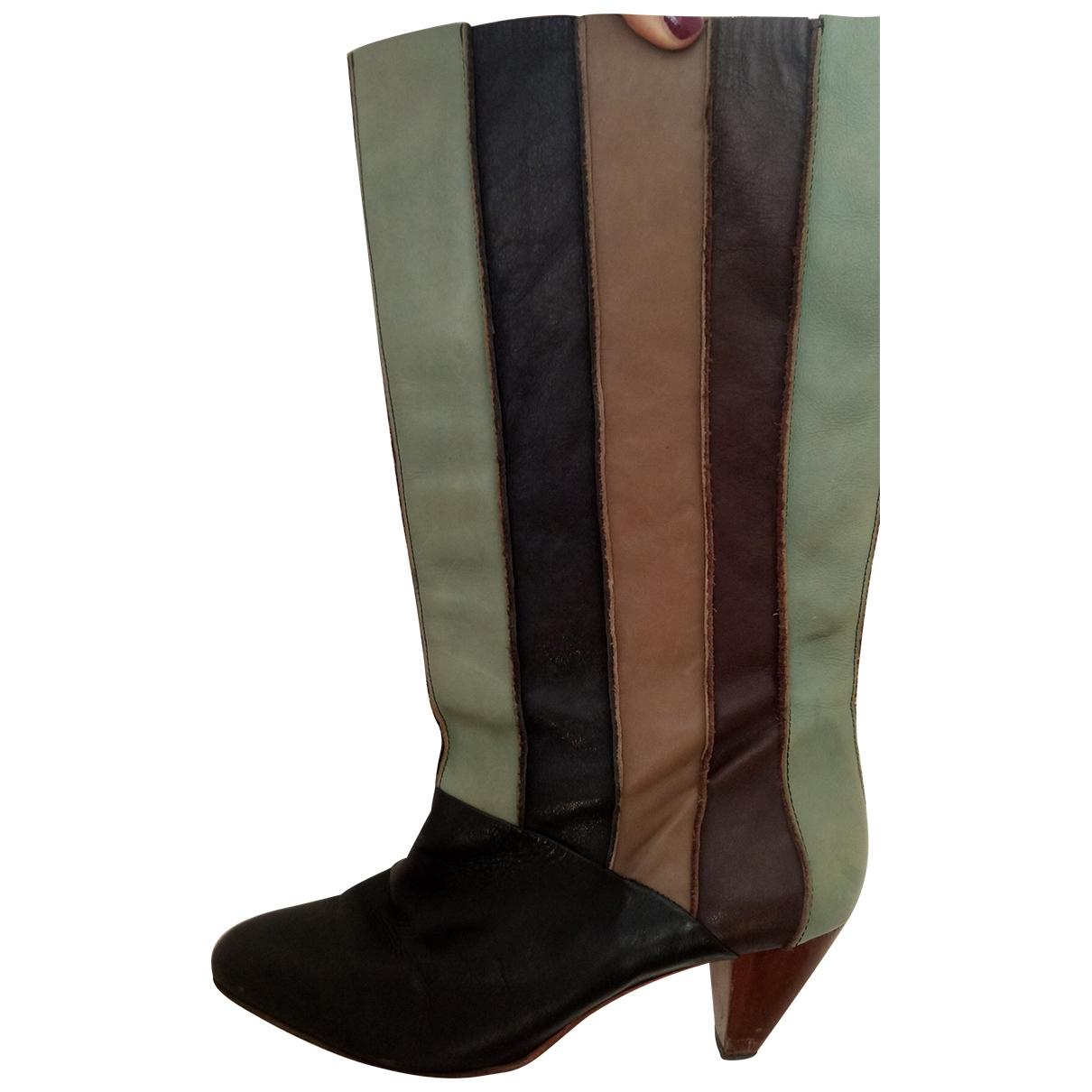Finsk - Bottes   pour femme en cuir - noir