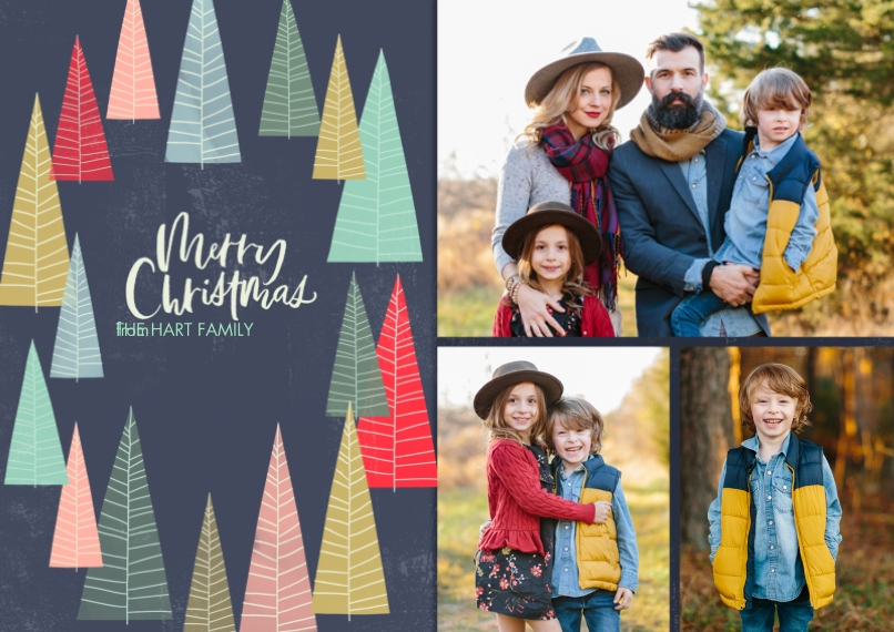 Christmas Photo Cards 5x7 Cards, Premium Cardstock 120lb, Card & Stationery -Colorful Christmas Trees Photo Collage by Hallmark