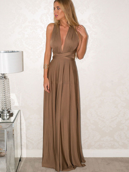 Milanoo Sexy Maxi Dress Sleeveless Plunging Neck Backless Solid Color Evening Dress