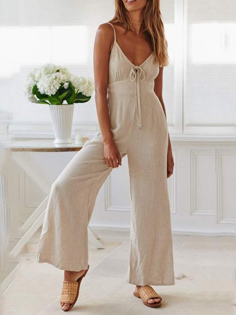Ericdress Lace-Up Plain Strap Loose Jumpsuit