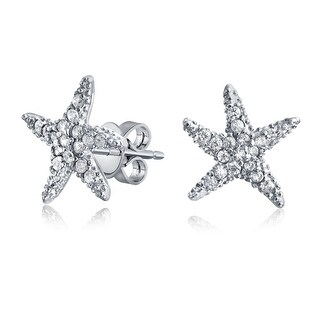 Pave CZ Starfish Shaped Stud Earrings Rose Gold Plated Sterling Silver (Silver)