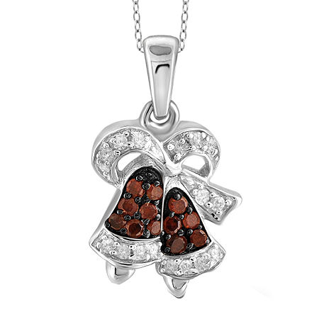 1/10 CT. T.W. White & Color-Enhanced Red Diamond Sterling Silver Pendant, One Size , No Color Family