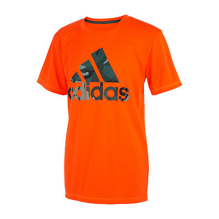 adidas Big Boys Crew Neck Short Sleeve T-Shirt, Small (8) , Orange