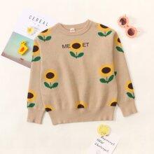 Pullover mit Buchstaben & Blumen Muster