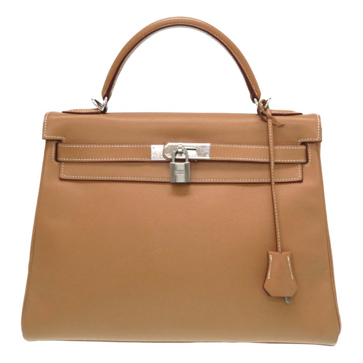 Hermes Kelly 32 Handtasche in  Beige Leder