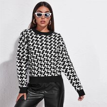 Pullover mit sehr tief angesetzter Schulterpartie und Geo Muster