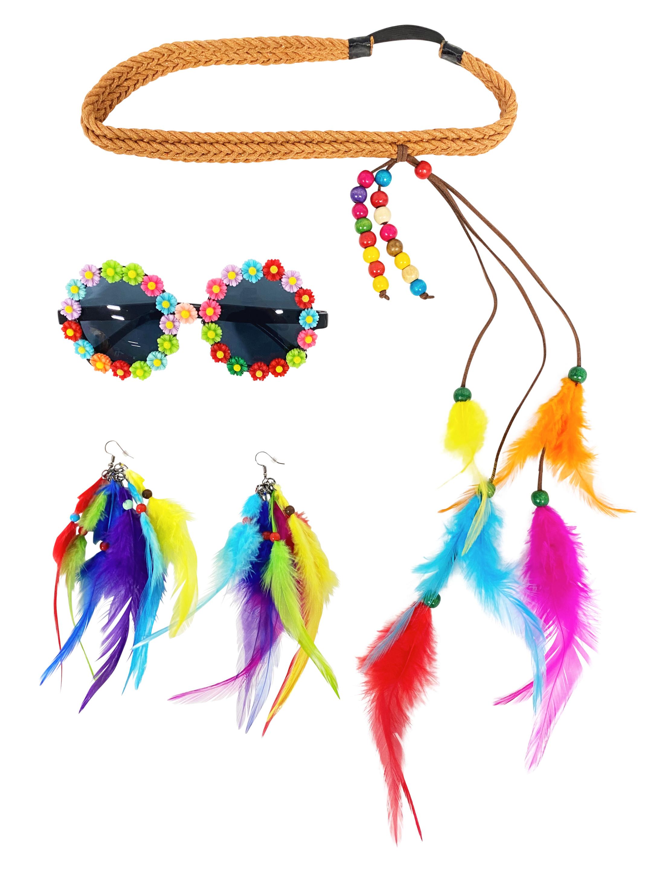 Kostuemzubehor Hippie Set bunt 3-tlg. Farbe: multicolor bzw. bunt