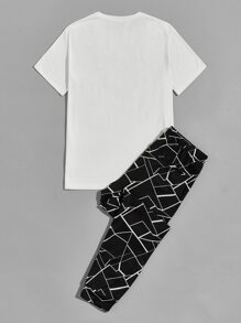 Men Elk Print Top & Drawstring Waist Geo Print Pants Set