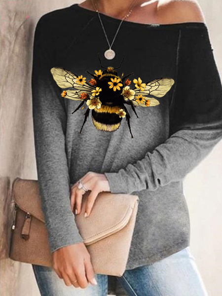 Milanoo Las mujeres de manga larga camisetas cafe marron abeja impresa joya cuello poliester algodon camiseta