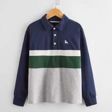 Polo Shirt mit Hirsch Muster, Farbblock und Knopfen vorn