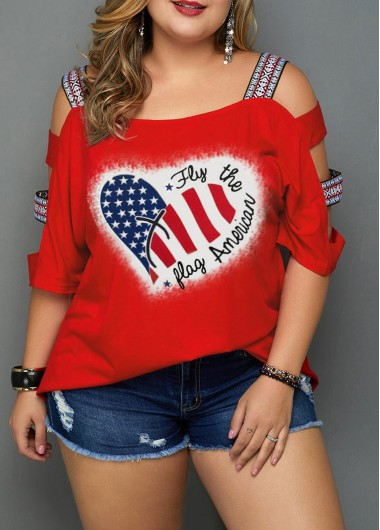 4Th Of July Women'S Red Plus Size American Flag Printed Patriotic T Shirt Strappy Three Quarter Sleeve Tunic Casual Top By Rosewe - 24W