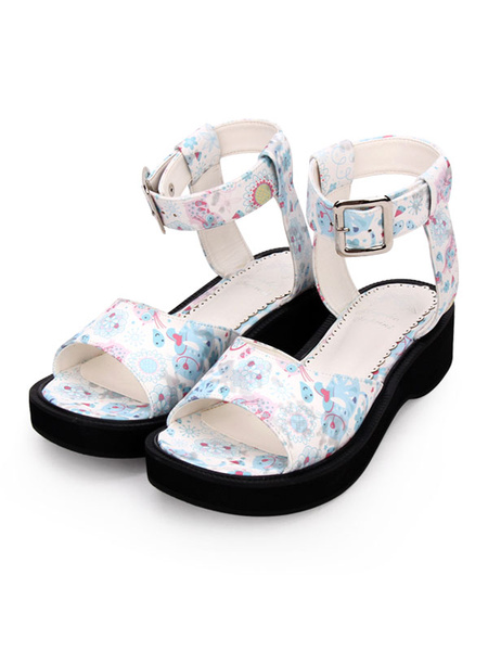 Milanoo Sweet Lolita Sandals Print Ankle Strap Buckle Blue Lolita Shoes