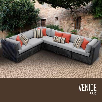 VENICE-06b-GREY Venice 6 Piece Outdoor Wicker Patio Furniture Set 06b with 2 Covers: Wheat and