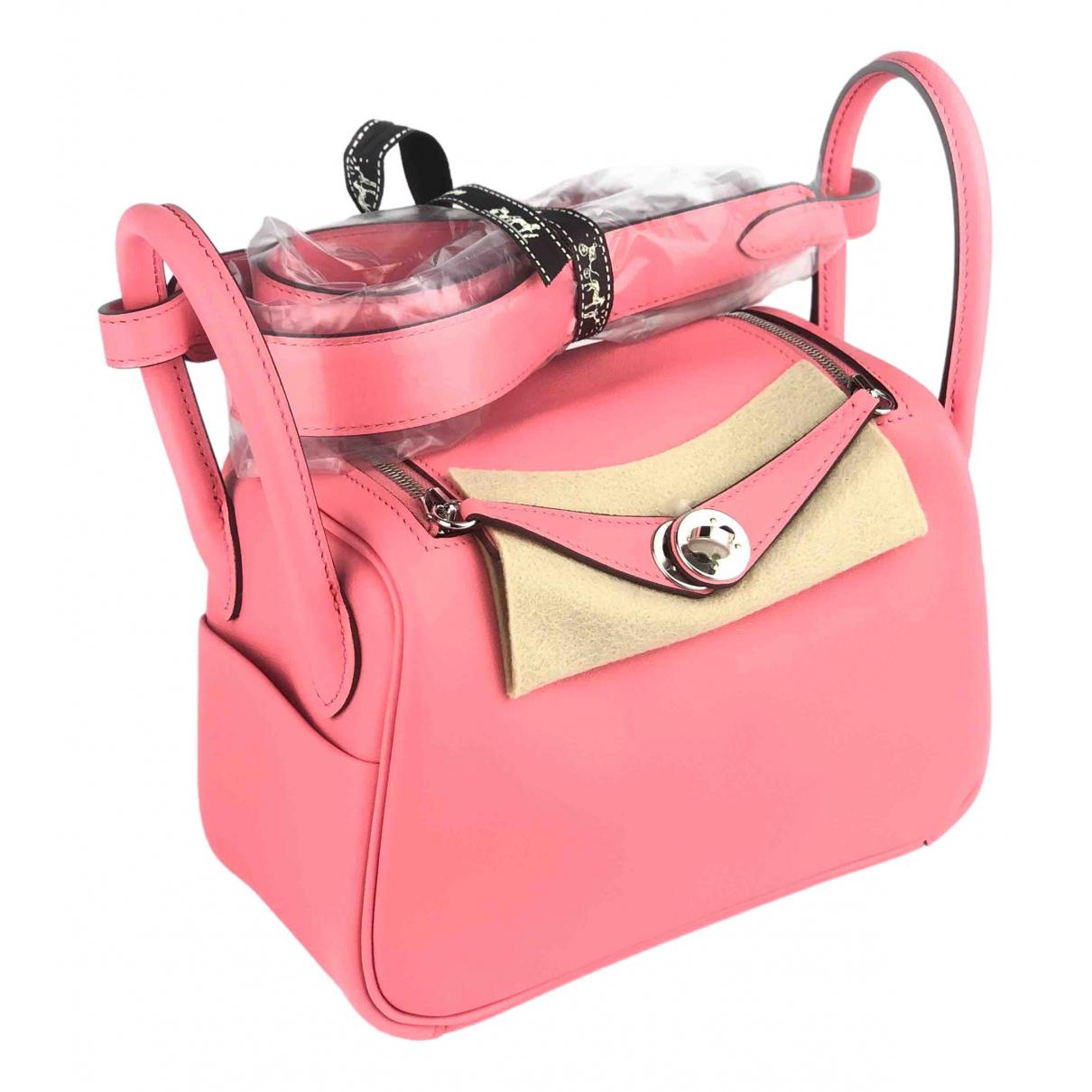 Hermes Lindy Handtasche in  Rosa Leder