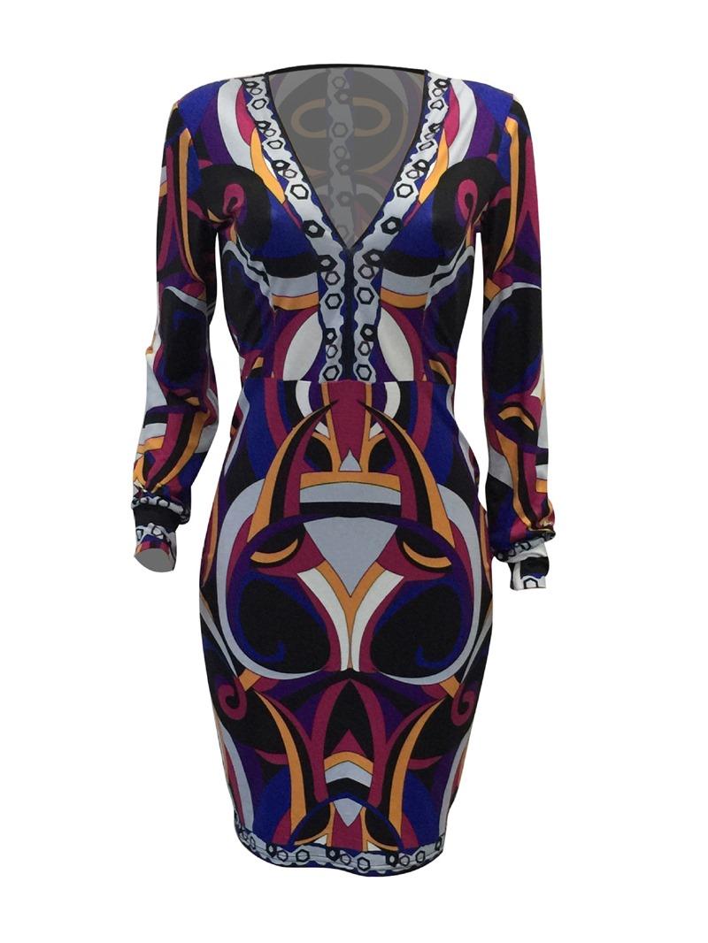 Ericdress Long Sleeve V-Neck Print Pullover Pencil Dress