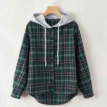 Button Down Hooded Tartan Shirt