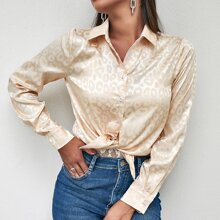 Jacquard Satin Button Up Blouse